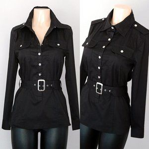 Black Cotton Belted Utility Slim Tunic Shirt Top